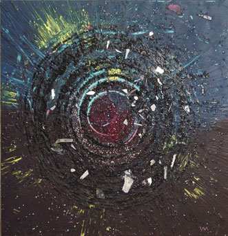 Veronika Matzner, Aktionskunstwerk, Collage (Acryl, Sand, Glas, Metall, ... auf Leinwand)