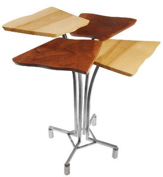 Vierteilige Edelstahlstehtische & Barhocker mit Holz oder Kunstharzplatten.....