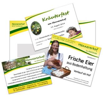 Layout von Werbematerial, Anzeigengestaltung, Flyer, Visitenkarte und mehr