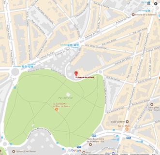 Carte géographique avec emplacement des bureaux de Marguerite Ferry/ Urban Garden Designer
