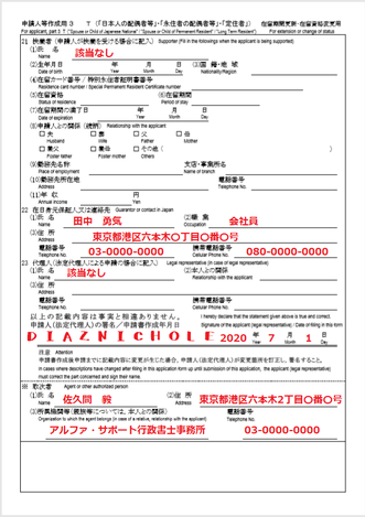 配偶者ビザの在留期間更新許可申請書の書き方