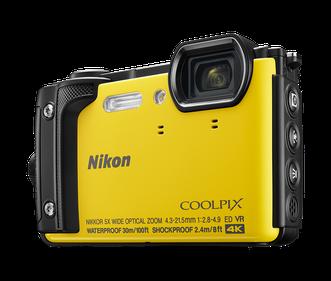 Die gelbe «Coolpix W3000»-Kamera.