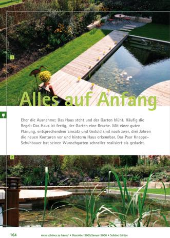 Gartenumgestaltung mit Teich und Holzsteg in Bräunlingen