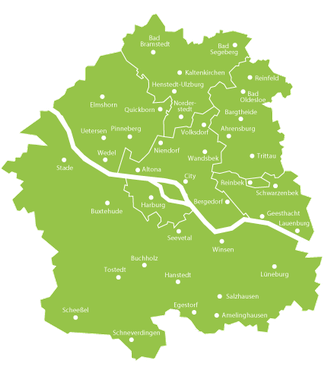 Das Verbreitungsgebiet des Hamburger Abendblattes