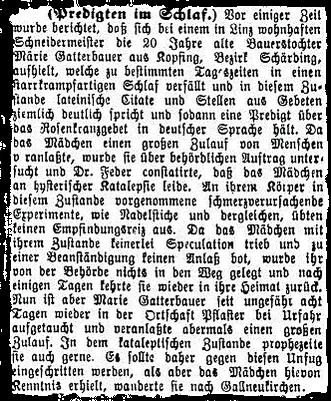 """Über das Mädchen berichtete die Presse in ganz Europa von Schweden bis Spanien, auch im """"Znaimer Wochenblatt"""" (13.2.1892) war eine Reportage zu lesen.."""