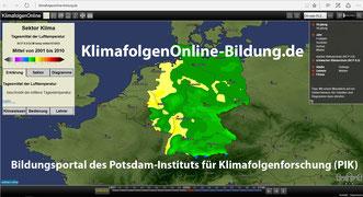 Startseite des Portals www.klimafolgenOnline-Bildung.de