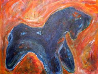 gemaltes Pferdchen - Vorbild fuer dieses Motiv war eine Kopie des bei Ausgrabungen am Petriplatz in Berlin entdeckten Keramikpferdchen