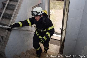 Im Dreißig-Sekunden-Takt wurden die Feuerwehrmänner und -frauen auf den Schillturm geschickt.