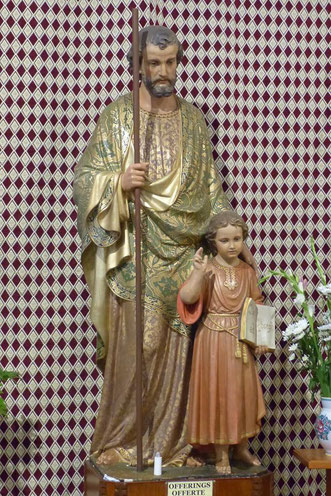 St. Joseph and Jesus statues in the church