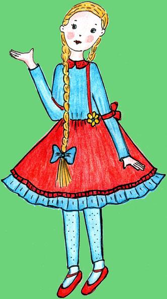Das Mädchen Leni im Hollerbaum (Buntstiftzeichnung)