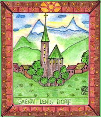Blick auf Greniv im Menschenland. Lenis Dorf.  (Buntstiftzeichnung)