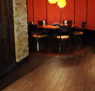 Brown wood porcelain tiles in a Chinese restaurant