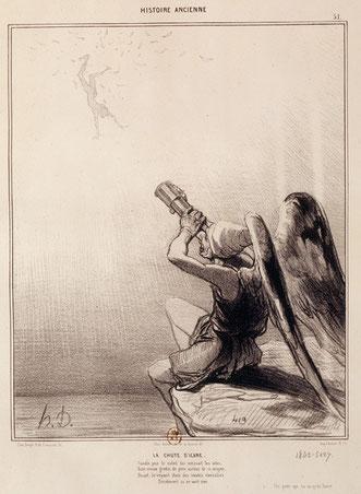 Honoré Daumier La Chute d'Icare, 1842. Tandis que le soleil lui rôtissait les ailes, /Son vieux gredin de père auteur de ce moyen, /Disait, le voyant choir des voûtes éternelles /Décidément ça ne vaut rien. (Un poète qui ne va qu'en fiacre)