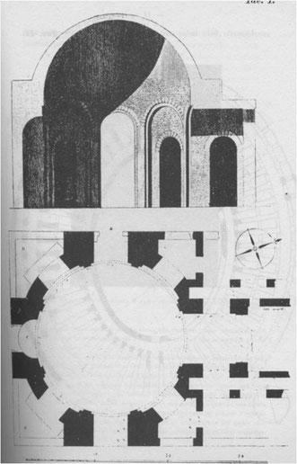 pianta e sezione delle Terme della Rotonda