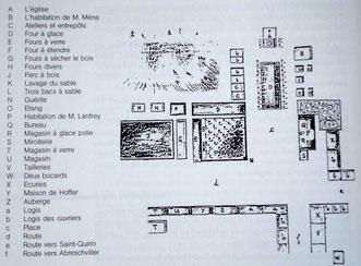 Croquis de l'implantation de 1777 etabli par Clemence de Spiegelberg - Cliquer pour agrandir - verrerie de Lettenbach saint-quirin