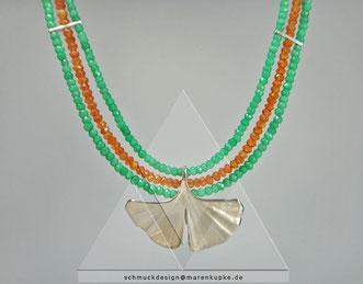 my Ginkgo S22 Silber grüner Granat orangene Karneolkette Quelle Herz