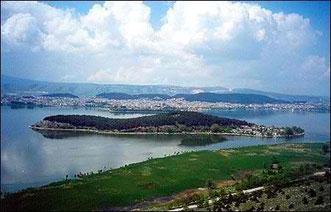 A view to Ioannina, lake of Ioannina and the island