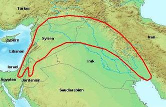 """Erst mit der neolithischen Revolution, die vom """"Fruchtbaren Halbmond"""" ausging, erhielt das Getreide Einzug in die menschliche Ernährung."""
