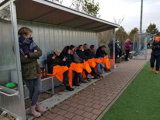 Tolle Auswechselbank im Spiel der C-Mädchen bei Babelsberg