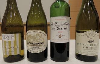 2種類ずつの赤・白ワインをテイスティング。