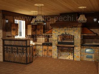 Многофункциональный печной комплекс в баннном комплексе: мангал, каминная вставка, вертел, казан, ящики для аксессуаров, рабочая поверхность, выдвижные кассеты с корзинами для хранения аксессуаров и п