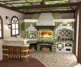 Многофункциональный барбекю комплекс в беседке: русская печь, мангал-барбекю, вертел, каминная вставка - генератор углей, попоротный механизм для котелка, плита под казан, духовка, барная стойка, мойк