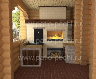 Фото печной комплекс с коптильней горячего копчения, мангалом, каминная вставка, вертел