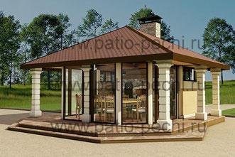 проект барбекю с беседкой Многофункционльный барбекю комплекс в беседке с панорамными окнами в летнюю кухню входит: мангал-барбекю, поворотный механизм для котелка, каминная вставка