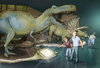 """Ein Szeneriebeispiel aus der aktuellen Ausstellung """"Dino World"""" (Foto: Dino World / SC Exhibitions / Semmel Concerts Entertainment GmbH)"""