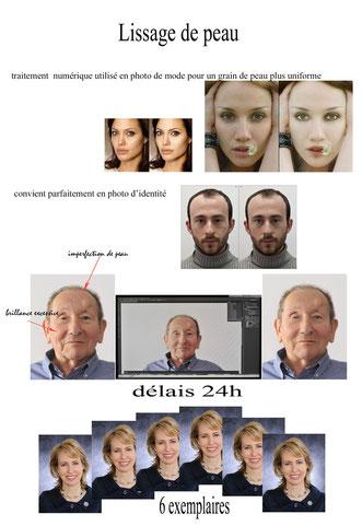 panneau de photo identité retouche photoshop, lissage de peau