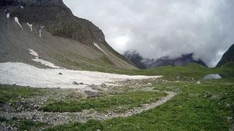 Schnee Wiese Gras Wolken Alpen Österreich Memminger Hütte Zams