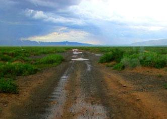 70 km unsichere Piste hatten wir vor uns