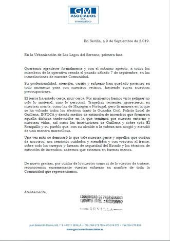 CARTA  DE AGRADECIMIENTO DE LA JUNTA DIRECTIVA COMUNIDAD PROPIETARIOS LAGOS DEL  SERRANO 1ª FASE