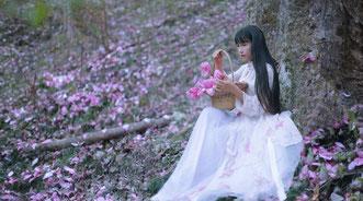 fantasy woman in woodland