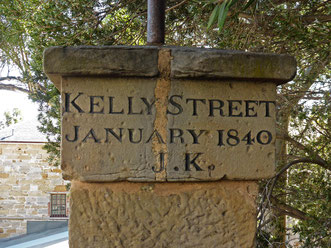 Stone sign at the top of Kelly Steps, Hobart