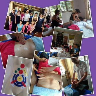 Photos d'un stage de massage en Thaïlande avec un groupe d'élèves.