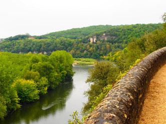 die Mauer der Bastide - Blick auf die Dordogne, im Perigord
