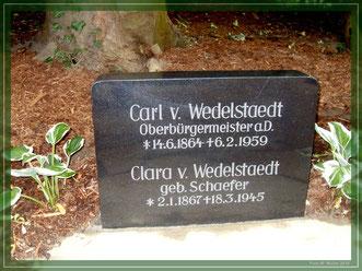 Der Grabstein im Park      Foto W. Müller