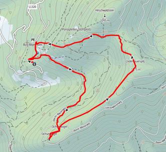Route von der Burg Altpernstein auf den Ochsenkogel und den Zederbauerspitz