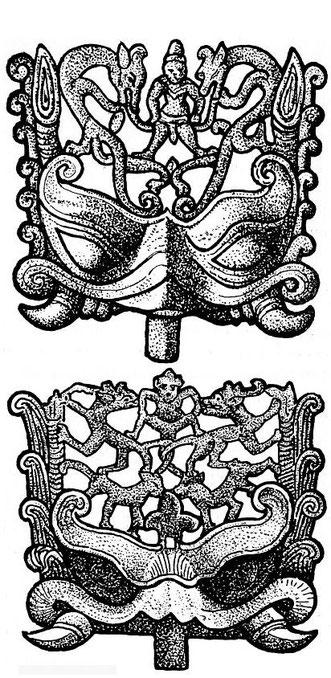 Figures 84 et 85. Gisbert Combaz (1869-1941) : Masques et dragons en Asie. La Chine. — Mélanges chinois et bouddhiques, Institut belge des Hautes Études Chinoises,  vol. VII. Bruges, 1945.
