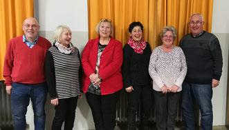 v.l.:Karl-Heinz Glaser, Gisela Fischer, Isolde Heilig, Hilde Beck, Ursula Novoszel, Heinz Unglert