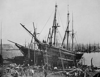 Reiherstiegwerft um 1865. Fotografie von Carl Höge