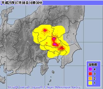 気象庁レーダー・ナウキャスト(降水・雷・竜巻):関東地方 http://www.jma.go.jp
