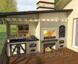 проект барбекю Многофункциональный печной комплекс на патио у банного комплекса: плита под казан, мангал-барбекю, камин-генератор углей, вертел, коптильня, буфетные дверки, рабочая поверхность