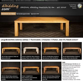 dibidding, Holztische, Masstische, Tische auf Mass, Zerreichentische