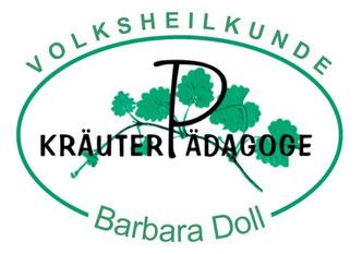Logo Kräuterpädagogin Barbara Doll oval mit grünem Blätterzweig