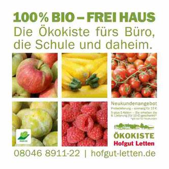 Äpfel, Zucchini, Kirschtomaten, Mirbellen und Himbeeren mit Logo und Text Ökokiste Hofgut Letten
