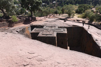 Christliches Erbe: Felsenkirchen in Lalibela.