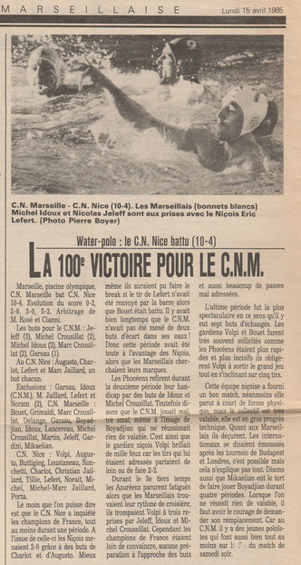 Article 5 du 15/04/1985 du journal la Marseillaise