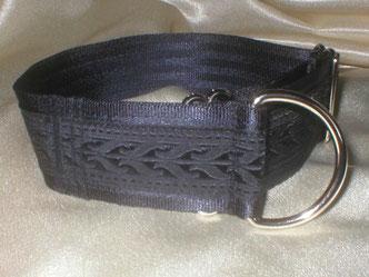 Zugstopp, Halsband, 4cm, Gurtband schwarz, Fledermaus Borte
